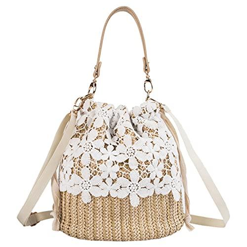 H.S.G.K Bolso de hombro tejido de paja para mujer, bolso de playa