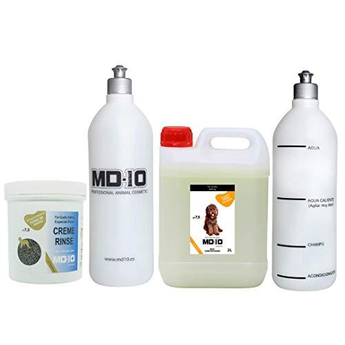MD-10 COLLECTION Champú 2 Ltrs (Pelo Marrón) + Acondicionador para Perro de Agua 500 Gramos + 2 Botellas Mezcladoras