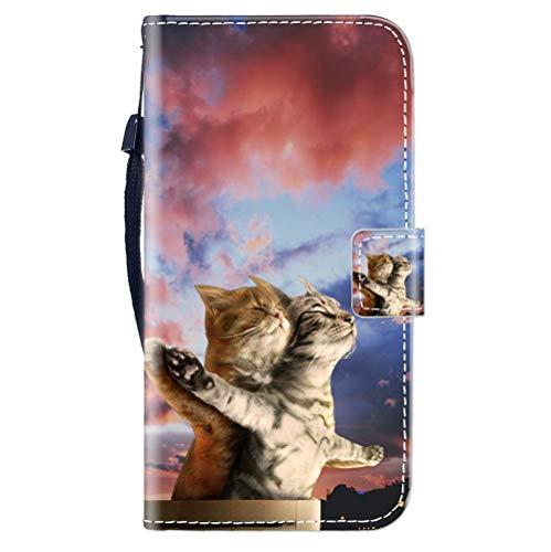 Sunrive Kompatibel mit ALCATEL PIXI 4 5'' 3G Hülle,Magnetisch Schaltfläche Ledertasche Schutzhülle Etui Leder Hülle Handyhülle Tasche Schalen Lederhülle MEHRWEG(Paar Katze B1)