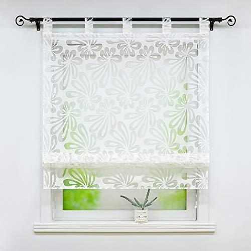 Joyswahl Ausbrenner Raffrollo mit Floral Motiv »Olivia« transparente Raffgardine mit Schlaufen Küche Wohzimmer Gardinenschals BxH 100x140cm Weiß 1 Stück
