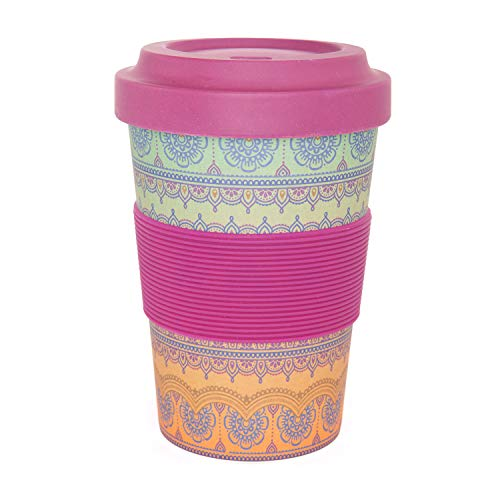 "YogiCup2Go, Bambus Coffee-to-go-Becher mit Print""Indian Ornaments\"", Bamboo-Cup als Mehrweg-Tasse für unterwegs, mit Silikon-Manschette und Schraubdeckel, 480 ml Fassungsvermögen"