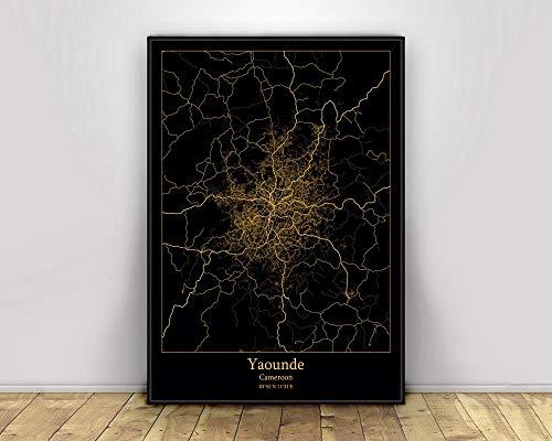 Leinwand Bild, Yao&e Kamerun Schwarz und Gold Stadtlichtkarten Benutzerdefinierte Weltstadtplakate Poster Leinwanddrucke Wandkunst im nordischen Stil Wohnkultur,20X30CM