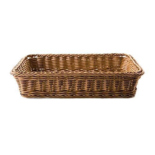 Vegetal 1PCS Basedidea rectángulo pan cesta de mimbre cesta del almacenaje de la fruta del alimento de la porción cesta Supermercado Pantalla Bandeja (Size : 29x40x8cm)