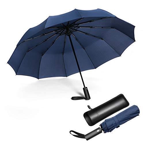 JIGUOOR Compact Windproof Umbrella Travel Umbrella, 12 Ribs...