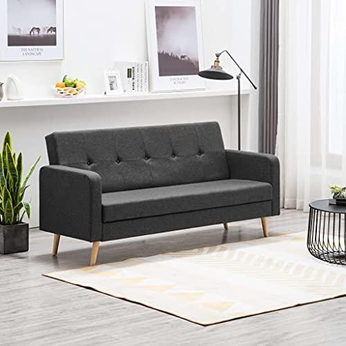 Nicoone 2-Sitzer-Schlafsofa, Sofasessel, Freizeitsofa, Schlafsofa mit Verstellbarer Rückenlehne, Sofa mit Schlaffunktion, kleines Sofa im Schlafzimmer und Wohnzimmer Dunkelgrau