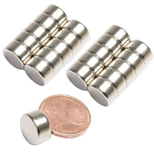 Neodym Magnet N52 Scheibe - Starke Magnetscheibe 10mm Durchmesser - 10x5mm Neodym Magnete Runde Scheiben Pinnwand Whiteboard Magnettafel [20 Stück] (10x5mm - N45-4,3KG)