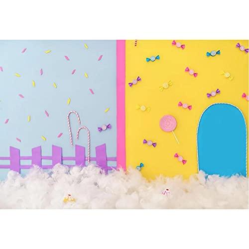 Fondo de Estudio para fotografía Sweet Candy Land algodón recién Nacido Retrato de bebé telón de Fondo Fiesta de cumpleaños decoración de sesión fotográfica-220x150cm