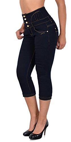 ESRA Damen Capri Jeans Hose Caprihose Damen Hochbund Kurze Jeans Hose High Waist bis Übergröße J353