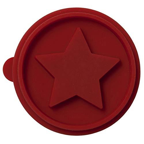 Birkmann 340466 Set Disque de Tampon Cheval à Bascule & étoile 2 pièces, Silicone, Brun/Rouge, 7 x 7 x 1 cm