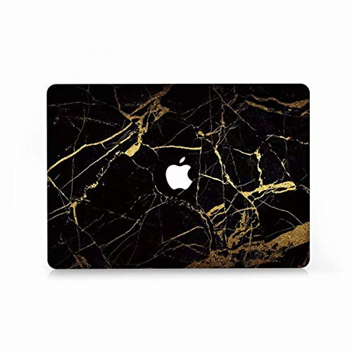MacBook Air 13 Case, AQYLQ Super Thin Rubberized Coated Laptop Cover Shell Protective for Apple 13 inch MacBook Air 13.3' Model A1466 / A1369, DL35 black & gold marble