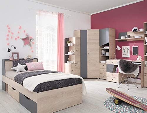 QMM Traum Moebel Jugendzimmer Kinderzimmer komplett Davis Set B Eckschrank Schreibtisch Bett 90x200 Regale