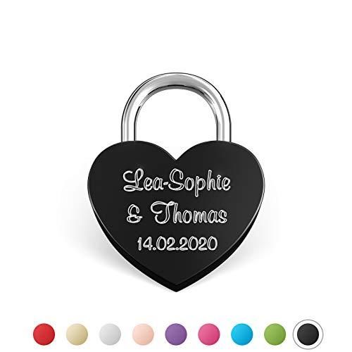 LIEBESSCHLOSS-FACTORY Pequeño Candado de amor Negro grabado en forma de corazón. Caja de regalo gratis y mucho mas.Diseña tu castillo ahora grabado!