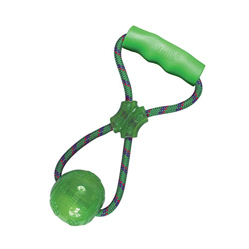 KONG – Squeezz Ball mit Griff – Robustes Quietschspielzeug (Farbvar.) – Für Große Hunde