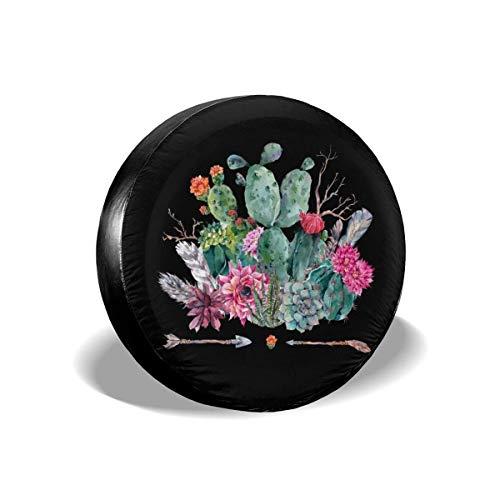 Hokdny Cubierta del Neumático De Repuesto Cubierta De La Rueda del Neumático Cactus Flores Plumas Flechas Boho Acuarela Trailer Cubiertas Viaje Universal 14 15 16 17 Pulgadas
