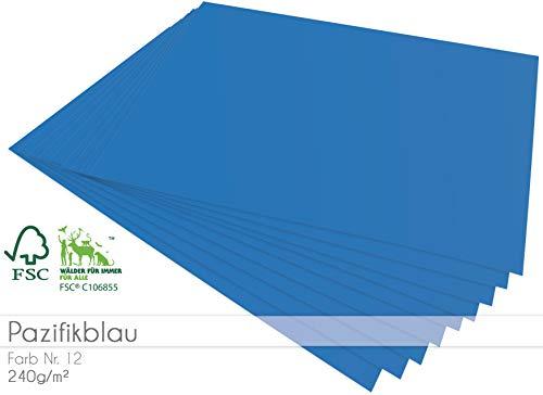 Faltkarten.com 25 Bogen Blanko Cardstock - Bastelpapier 240g/m² DIN A4 in pazifikblau
