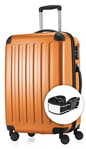 HAUPTSTADTKOFFER - Alex - NEU 4 Doppel-Rollen + Gratisartikel Hartschalen-Koffer Koffer Trolley Rollkoffer Reisekoffer, TSA, 65 cm, 74 Liter, Orange