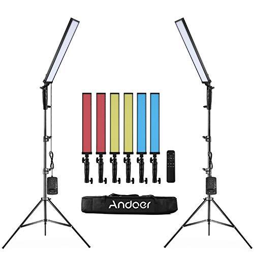 Andoer Kit de Luz LED para Fotografía Portátil, Lámpara de Mano para Retrato, Video, Fotografía Publicitaria de Bodas con 2 Luces LED, Control Remoto, Soporte de Luz, Filtros de Colores
