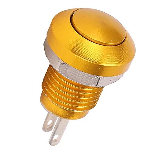 Interruptor de botón de metal Auto-Reset Impermeable Micro Interruptor de avance lento sin luz M8 Aleación de zinc 1A24V para equipos mecánicos(oro)