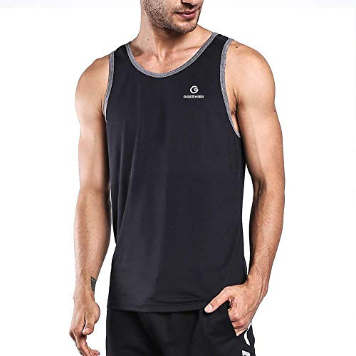 Ogeenier Men's Training Quick-Dry Sports Tank Top Shirt for Gym Fitness Bodybuilding,Black,XXL