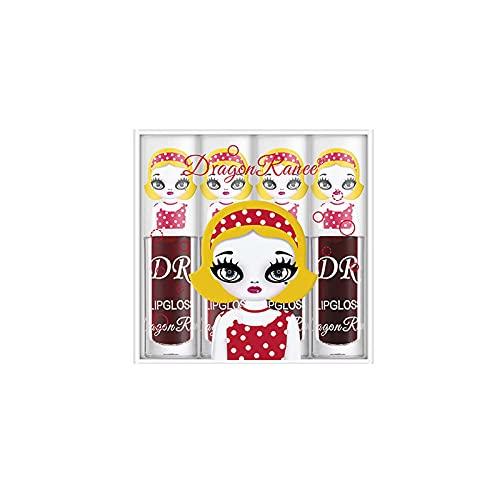 4-teiliger Spiegel Lippenstift, Beerenfarbe Lip Glaze Set, wasserdichte Langlebige Antihaft Tasse Nicht Verblassen, Samt Mehrfarbiges Matt Lipgloss Liquid Lipstick für Make up Fans (A)