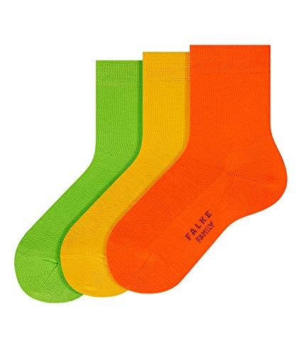 FALKE Kinder 3erSet FamilySO Socken, Rot (Red/Orange/Green 10), 35-38 (9-12 Jahre) (3er Pack)