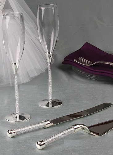 Crystal Filled Stemmed Toasting Flutes and Cake Knife Server Set and Metal Love Design Mini Favor Frame