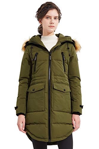 Orolay Women's Thickened Down Jacket Winter Coat Hooded Parka with Pockets ArmyGreen S
