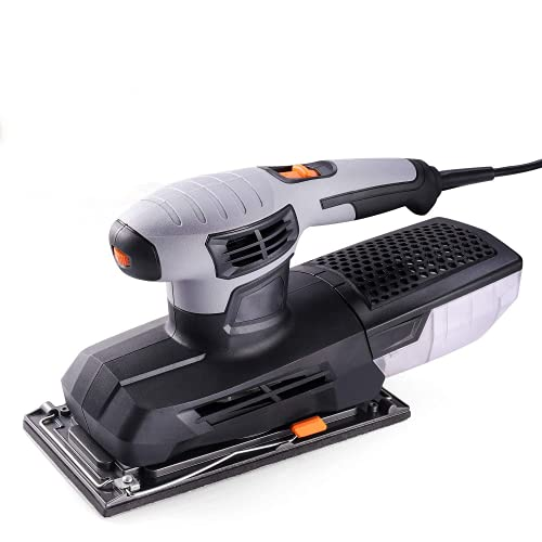 1 2 Sheet Sander, Sander for Woodworking with 115x230mm Sanding Base, 6 Adjustable Speeds, 12,000 Opm, Accessories with 10Pcs Sanding Sheets and Hook and Loop Pad, Quick Locking System PSS02A