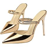 Paul Kevin Womens Pumps Sexy Dress Shoes Stilettos Ultra High Heel Pointed Toe Shoes Mules Champagne 5 Women