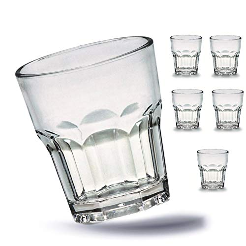 Kerafactum 6 x Bruchfeste Wasser Gläser Becher langlebige Wassergläser aus stabilem Kunststoff Saft Whisky Glas Optik Partybecher Whiskybecher Trinkbecher in echter Glasoptik stapelbar durchsichtig