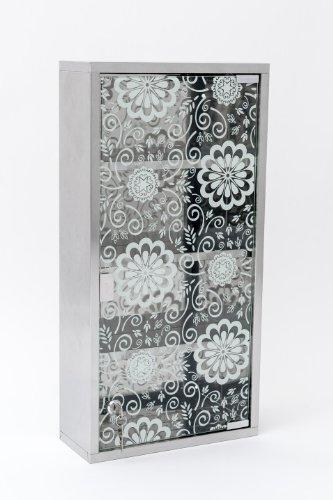 60cm Medizinschrank Arzneischrank Edelstahl matt Glas XXL Hausapotheke Blumen Floral Design