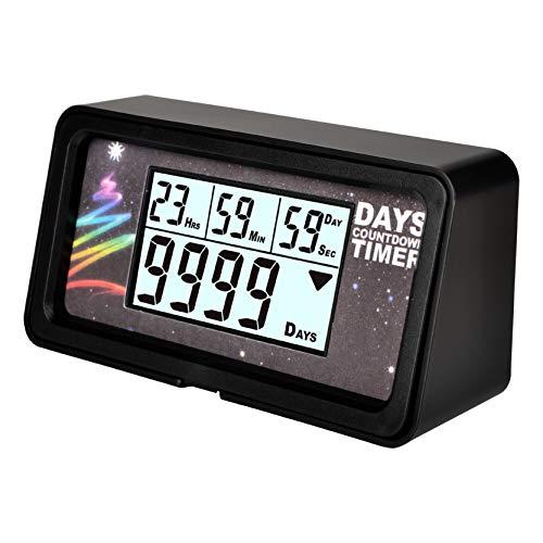 NINE-RONG Compte à rebours numérique au format 9 999 jours, écran LCD, rétroéclairage, idéal pour compter les jours avant un départ en retraite, un mariage, Noël ou toute autre occasion