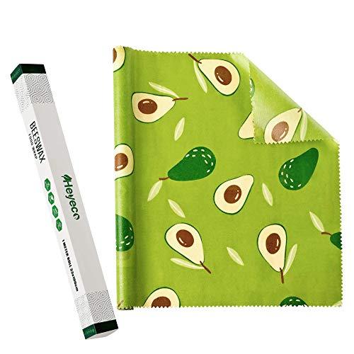 HEYECO Bienenwachs-Wraps Rolle, Wiederverwendbare wachspapier, bienenwachstücher aus bienenwachs-Bio und Öko Baumwolle für Lebensmittelverpackung (Grunes Muster)
