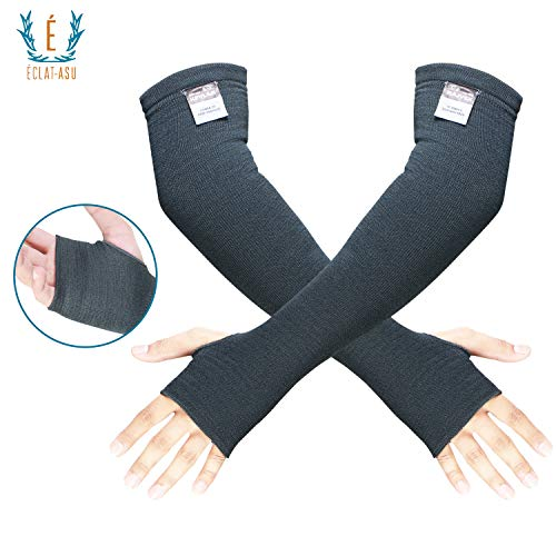 100% Kevlar Arm Sleeves- Cut, Scratch & Heat Resistant Arm Sleeve with Thumb Holes- Arm Safety Sleeves- Long Arm Protectors- Cooking, Gardening, Welding, Bite Proof- 18 Inches, Gray, 1 Pair