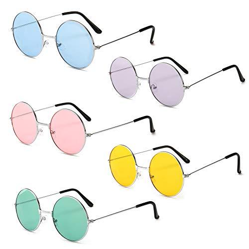 Vientiane 5 Paar Runde Hippie Sonnenbrille, Party Neuheit Brille Specs & Shades für Kostümzubehör
