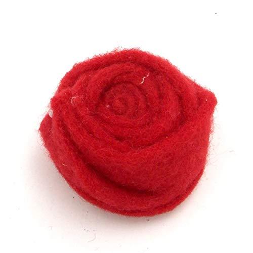 E+N Filz-Rose groß rot, Durchmesser x Höhe: ca.6,5 x 3 cm, Filz