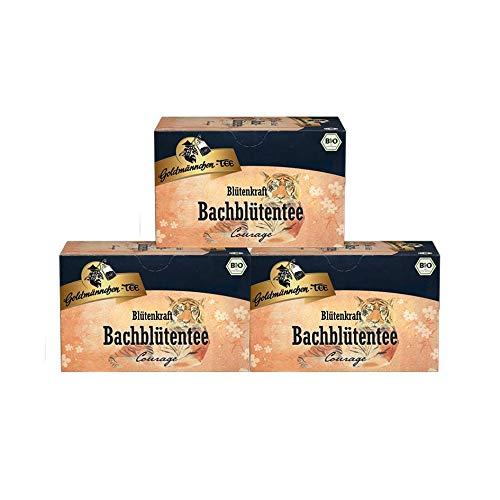 Goldmännchen Bachblüten Tee Blütenkraft Mut und Kraft, 20 einzeln versiegelte Teebeutel, 3er Pack (3 x 40 g)