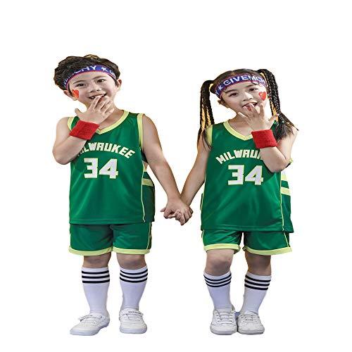 Sheki Milwaukee Bucks # 34 Antetokounmpo, Trajes de Ropa Deportiva para ni?os, Uniformes de Entrenamiento, Uniformes de Baloncesto, (Verde, M)