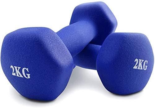 PERPETUAL Mancuernas 2KG (2 Unidades) Neopreno Pesas Ligeras Pequeñas Hexagonales Pilates Body Pump Hombre Mujer Ejercicio Gimnasio Casa Fitness Dumbbell 🔥
