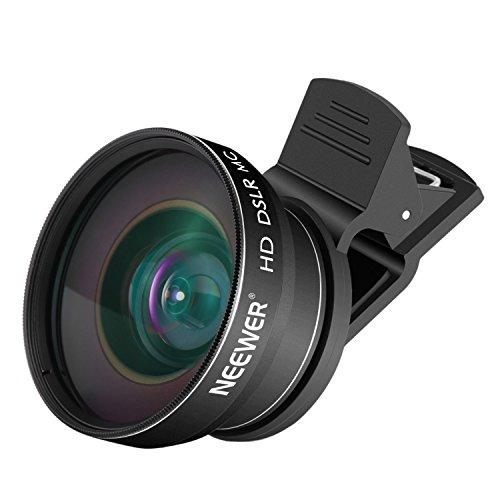 Neewer 2-in-1-Objektiv für Smartphones: 0,43x Weitwinkel- und 10x Makro-Objektiv, für Android Smartphones und iPhones wie iPhone 7Plus, 6S, 6S Plus, 6Plus, Samsung Galaxy S6, S6Edge