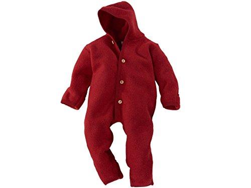 Engel-Natur Baby Overall mit Kapuze aus Bio Schurwoll-Fleece, Rot Melange, Gr. 74/80