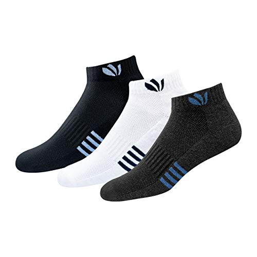 FRESH FEET Men's Cotton Ankle Socks with All Day Cushion Comfort, Free Size, Pack of 3