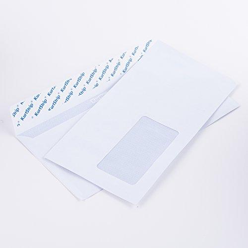 Briefumschläge DL 110 x 220 mm weiß 70g/m² mit Fenster haftklebend(kein Austrocknen - bis 3 Jahre!) (12563880W) (1000)