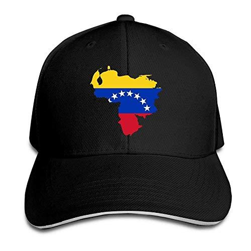 Bgejkos Mapa de la Bandera de Venezuela Algodón Sándwich para Adultos Gorra de Pico Sombrero Deportivo Regalo QW409