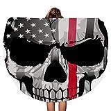 American Firefighter Skull Face Manta de Toalla de Playa Redonda Gruesa Throw Mandala Microfiber Bohemian Circle Style Oversized Extra Large Yoga Mat Cubierta de Mesa