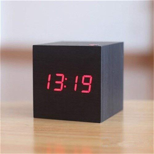 Led Houten wekker Wake Up Light Digital externe klok Temperatuur Data USB Power/Batterij Electronic Desktop QPLNTCQ (Color : Black clock red, Size : Free)