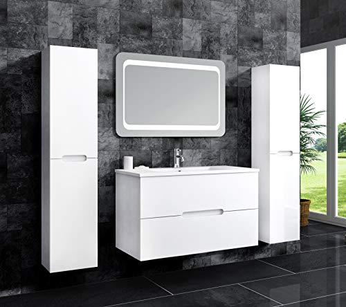 Oimex Tiana 90 cm Badmöbel mit LED Spiegel und 2 Seitenschränken, Hochglanz Weiß Badezimmer Set mit viel Stauraum Waschtisch Unterschrank Keramik Waschbecken
