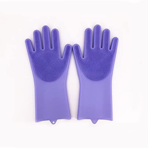 1 par de Guantes de Silicona para Lavar Platos, Guantes mágicos de Limpieza de Silicona para fregadora doméstica, Herramienta de Limpieza de Cocina de Goma, Guantes para Lavar Platos-Purple