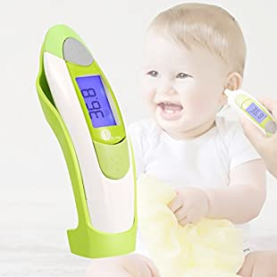 1byone Forehead and Ear Thermometer for Babies, Children and Adults, with Backlit Digital Display, 10 Readings in Memory, and Fever Warning