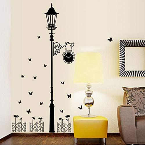 FOMBV Wandaufkleber Zaun Lampe Antike Wandaufkleber Wandhauptdekoration Wohnzimmer Hintergrund Kunst Aufkleber Schmetterlinge Tapete